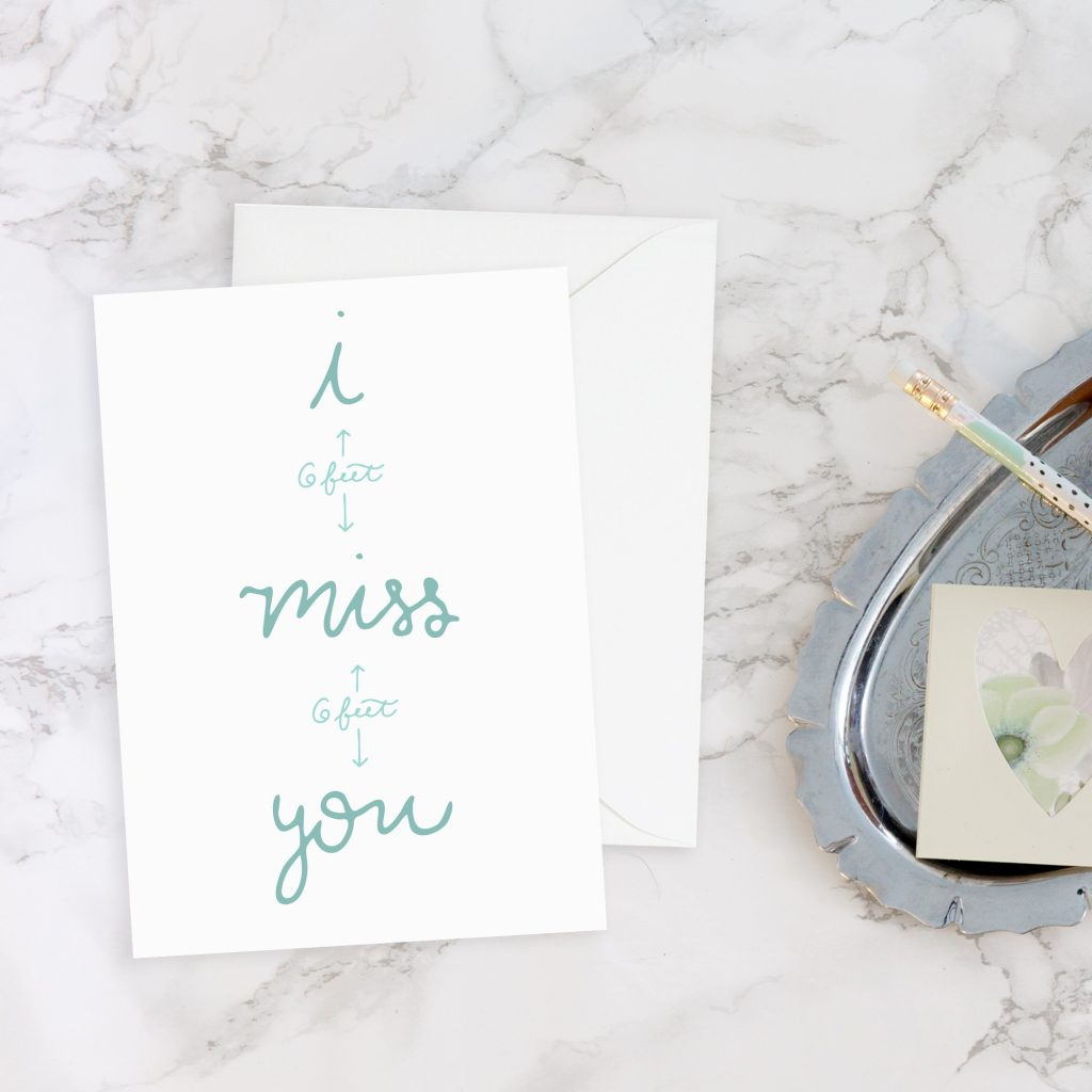Social Distancing Cards: I Miss You from 6 feet away greeting card