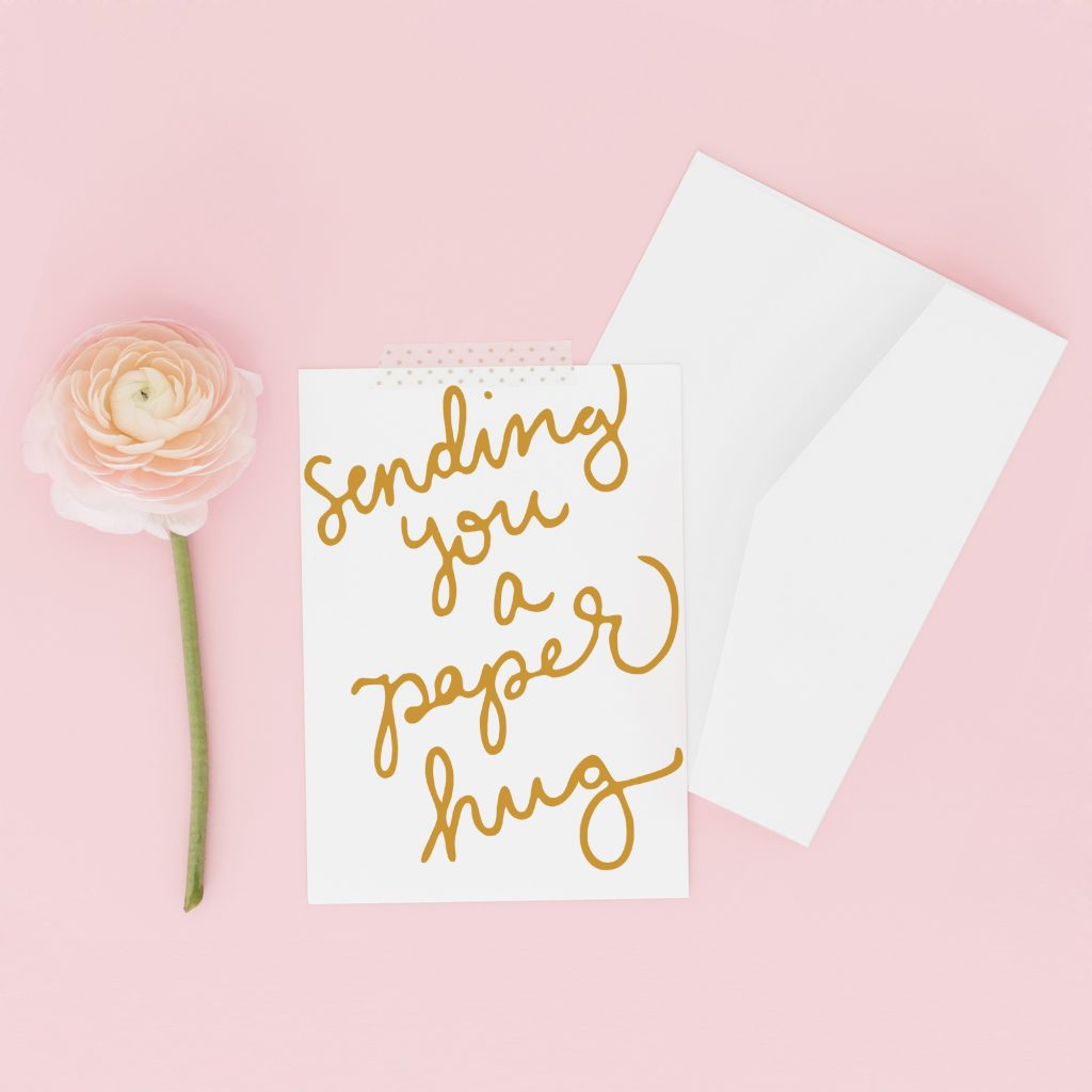 Social Distancing Cards: Sending you a paper hug greeting card