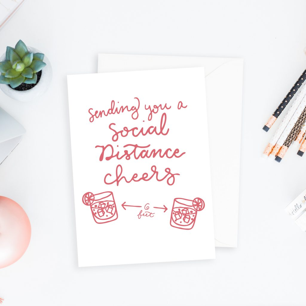 Social Distancing Cards: Sending you a social distance cheers greeting card