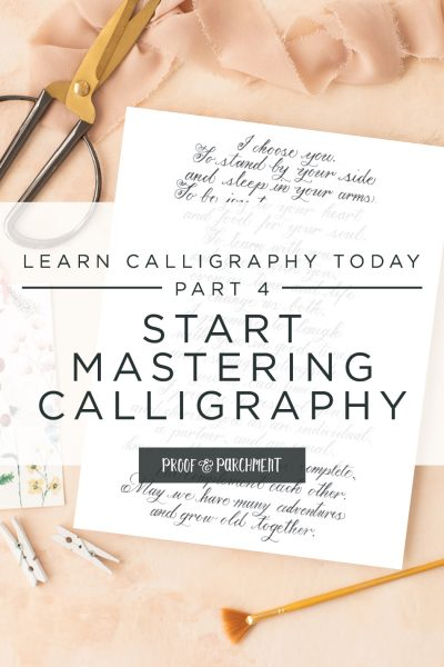Start Mastering Calligraphy text over calligraphy vows flatlay