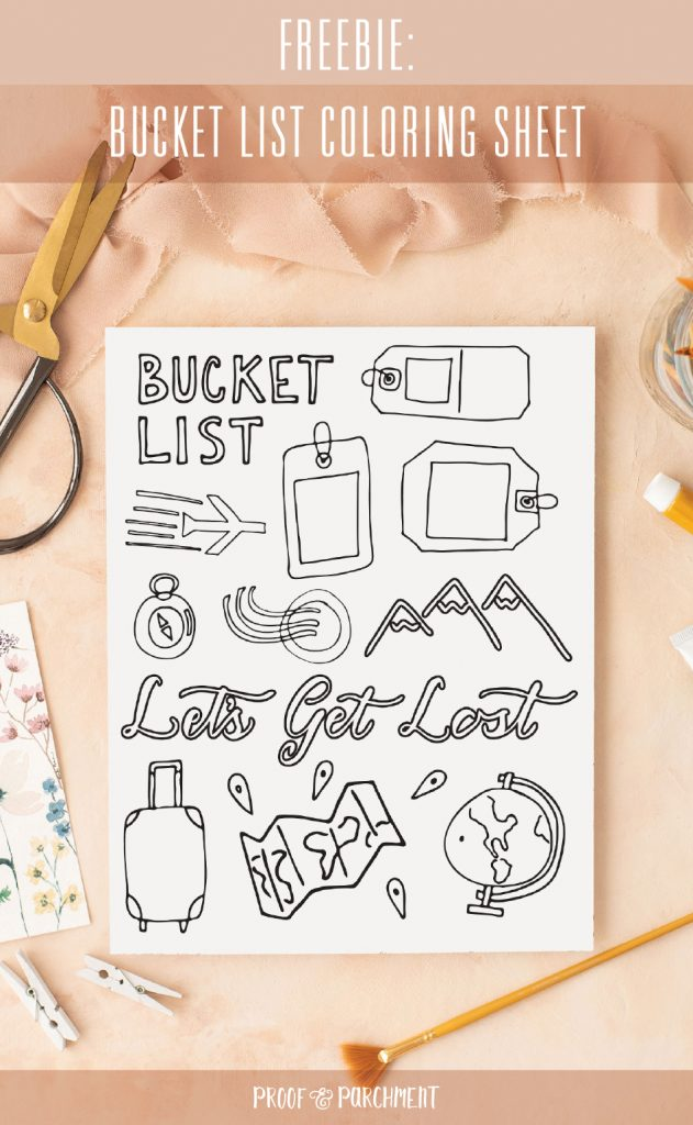 Travel Themed Calligraphy Worksheets and Free Bucket List Coloring Sheet